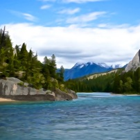 Bow River Scene (Watercolour Filter)